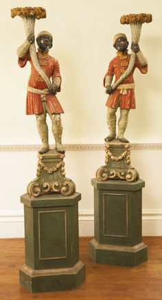 A pair of Italian Rococo polychrome-painted and carved torchères 18th century | Lot | Sotheby's
