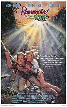 Romancing the Stone    Promotional film poster  Directed by	Robert Zemeckis  Produced by	Michael Douglas  Written by	Diane Thomas  Starring	Michael Douglas  Kathleen Turner  Danny DeVito  Music by	Alan Silvestri  Cinematography	Dean Cundey  Editing by	Donn Cambern  Frank Morriss  Distributed by	20th Century Fox  Release date(s)	  March 30, 1984