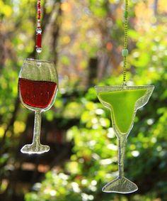 Cheers Festive Fused Glass Cocktail Suncatcher by 3wishesstudio, $24.00