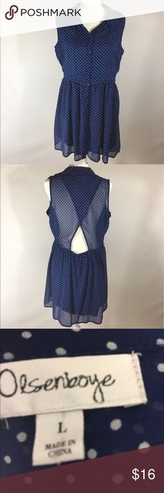 Olsenboye dress L Sleeveless poka dot navy white Good condition missing belt has loops around waist B 21 inches L from the back 35 inches skirt is lined. Buttons up the front. Olsenboye Dresses Midi