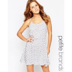 Vero Moda Petite Daisy Print Cami Dress ($25) ❤ liked on Polyvore featuring dresses, purple, white cami, white cami dress, purple white dress, daisy dress and white daisy dress