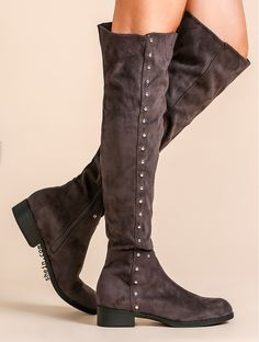 Grey faux suede point toe knee boots. Free shipping for Black Friday!