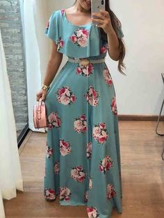Shop Floral Print Flounce Ruched Maxi Dress – Discover sexy women fashion at Boutiquefeel Source by alinecostal dresses Short Beach Dresses, White Maxi Dresses, Maxi Dress With Sleeves, Casual Dresses, Fashion Dresses, Dresses Dresses, Dresses Online, Long Dresses, Boho Dress