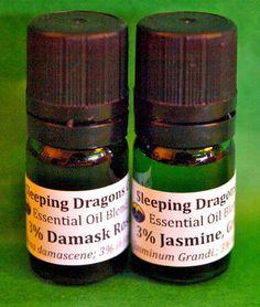 Jasmine Grandiflorum, Damask Rose, 3% in jojoba, 5mLs Green Glass Aromatherapy…