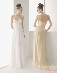 A-line strapless v-neck soft chiffon white/champagne Bridesmaid Dresses  2012  BDMS0028  $248.00 (USD)