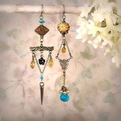 Ancestral Memory - Asymmetric Mismatch Earrings, Rustic Tribal Ethnic, Unique Artistic Turquoise Citrine Earrings, Bone, Nut, Antique Brass via Etsy