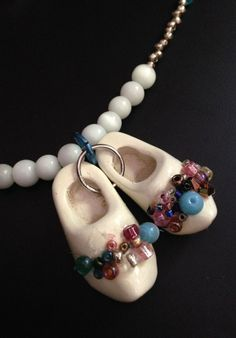 white wooden shoes bling necklace and earring by JeanineHandley, $55.00