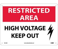 RESTRICTED AREA, HIGH VOLTAGE KEEP OUT, GRAPHIC, 10X14, .040 Aluminum