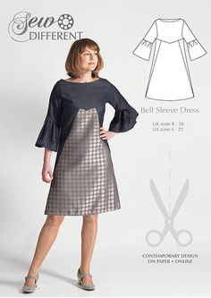 Bell Sleeve Dress - sewing pattern for women. Available on paper or download with free blog post full of advice and tips on fabric and styling. In UK sizes 8-26 (US sizes 4-22)