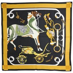 Hermes silk twill 90cm scarf - tout en Carre | From a collection of rare vintage scarves at https://www.1stdibs.com/fashion/accessories/scarves/