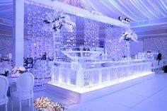 Solid Ice bar with vertical texture and ice curtain back