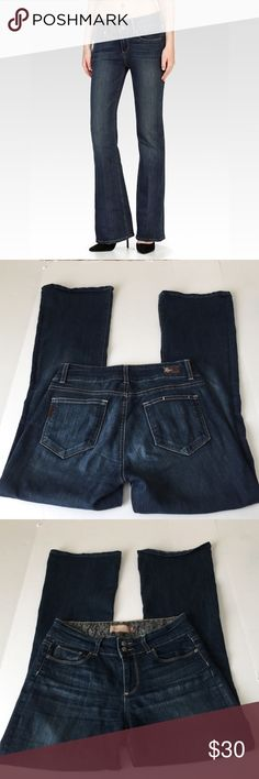 Paige Hidden Hills High Bootcut Petite Jeans, 29 Paige Jeans Hidden Hills High Rise Boot Petite Jeans in size 29. Flat lay measure of the waist is 15.25. Rise is 9, inseam is 30, and leg opening is 9.5. Made from 80% cotton, 19% polyester, and 1% spandex. Overall in very good condition, please ask if you have any questions. Paige Jeans Jeans Boot Cut