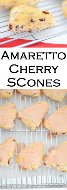 Mini Amaretto Cherry Scones for breakfast, brunch, and high tea. Delicious and easy scones made with dried cherries.