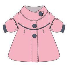 Выкройка пальто для маленькой девочки, р-р 92