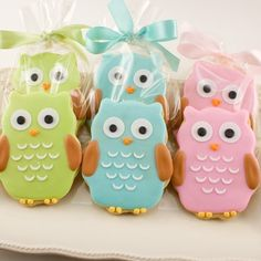 Owl Sugar Cookies...using an owl cookie cutter, these would be precious in pastel colors for a baby shower...put in cellophane bags for take home thank you gift from Mommy and Baby. - bjl