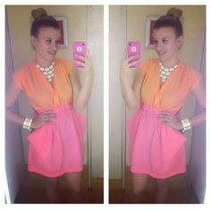 Your Outfit Today » Outfit: pink and orange neon dress.  Outfit: Orange and pink neon dress : TJmax Necklace : Charlotte Russe