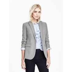 Banana Republic Womens Gray Lightweight Wool Blazer ($198) ❤ liked on Polyvore featuring outerwear, jackets, blazers, light gray, banana republic blazer, light weight jacket, long sleeve blazer, grey jacket and gray blazers