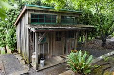 This is a garden shed that looks like an old country store, but it would make a cute little cabin too.