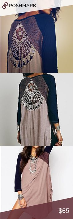 Free people 🔆 road trip tunic Actual pictures of shirt coming! Awesome lace crochet back detailing, side slits and paisley inserts. Fits oversized Tops