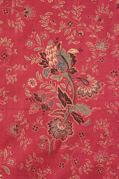 French Antique Turkey Red printed cotton c1850 Provence designed floral old