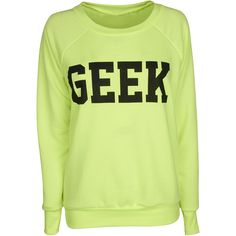 Yellow Geek Sweat Top ($23) ❤ liked on Polyvore