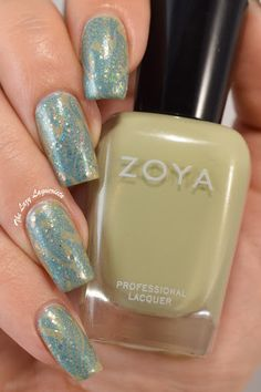 Lagoon blue stamped nail art.  Zoya Ireland, Femme Fatale Unwoven Light, Lilypad Lacquer Bluebell and Bundle Monster plate BM-501.