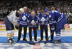 Darryl Sitter, Johnny Bower, Darcy Tucker and Felix Potvin at the ceremonial face-off Who Plays It, Air Canada Centre, Nhl Games, Buffalo Sabres, Toronto Maple Leafs, Face Off, Ontario, Hockey, Athlete