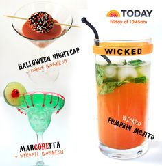 Halloween cocktails, including Wicked Pumpkin Mojitos and Mar-gore-itas with Eyeball Lime Wheels
