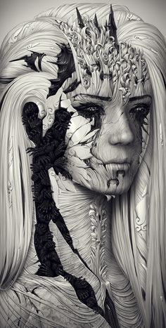 Alexander Fedosov | OLDSKULL.NET I thought this was a little creep but awesomely unique. Love every detail it has. It's covered in different patterns of line. Look like a pen drawing.