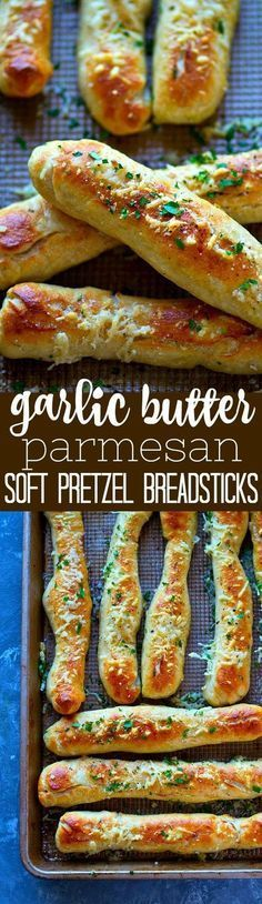 Get your soft pretzels fix in BREADSTICKS form! These easy soft pretzel breadsticks are covered in a flavorful garlic butter and tons of Parmesan cheese for the ultimate appetizer.