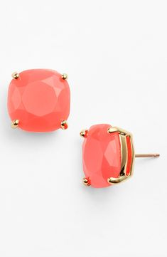 These coral Kate Spade stud earrings are everything. You'll want them in all 16 colors! They are big enough to make a statement and add some bling to an outfit. Great for wearing with jeans and t-shirt or pretty dress and heels.