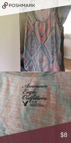 American Eagle tank top Aztec print tank top, in excellent condition 💙💛 American Eagle Outfitters Tops Tank Tops