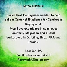 We are looking for a #devops engineer with continuous delivery/ integration experience!! Please contact us today for more details! #itconsultant #philadelphia #PA #jobsearch #nowhiring #devopsengineer #recruitment #tech #applynow #itjobs #Aetea #informationtechnology #Linux #Jira #jenkins #scripting by aetea_