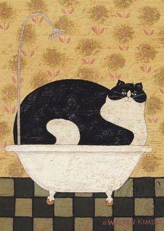 Cat in a Hot Tin Tub - by Warren Kimble