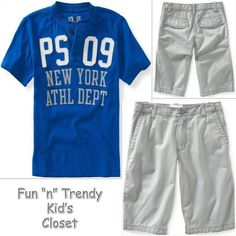 NWT PS Aeropostale Kids Boys Size 12 Blue Henley Tee Shirt Gray Shorts 2-PC SET #PSAeropostale #Everyday