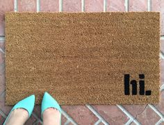 hi welcome mat. Hand painted, customizable doormat gives your visitors a warm greeting.
