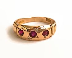 Antique 18 carat ruby and diamond ring, gypsy ring, Birmingham, England, circa 1910, 4.3 grams, size P.5 / 8 by CardCurios on Etsy Smith Co, Gypsy Rings, Birmingham England, Carat Gold, Vintage Rings, Round Diamonds, Anniversary Gifts, Wedding Bands, Gemstone Rings