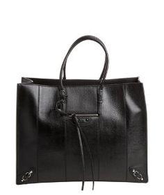 Balenciagablack lizard embossed leather top handle tote bag$2,249.99