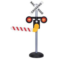talking railroad crossing sign - train warnings, train and car sounds, automatic arm and in 3 languages