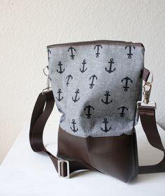 Umhängetasche Anker Stoff Kunstleder braun/grau // messenger bag anchor pleather faux leather brown/gray via DaWanda.com