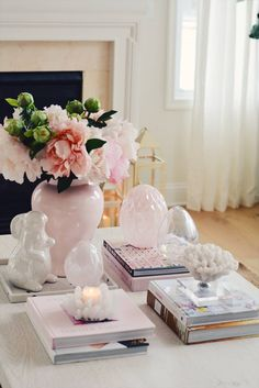 SPRING HOME DECOR. Coffee table decorated fro spring with easter glass vase and faux peonies Decor, Easter Coffee Table Decor, Spring Decor, Spring Kitchen Decor, Spring Home Decor, Home Decor, Table Decorations, Modern Coffee Tables, Coffee Table