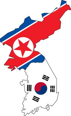 North and South Korea Flag | North & South Korea Flag Map (No Jeju)