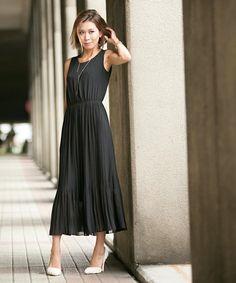 DURAS ambient(デュラスアンビエント)のシフォンプリーツマキシドレス(ドレス)|ブラック