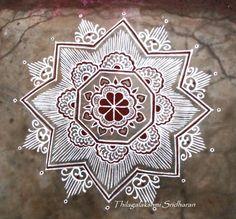 Rangoli and Art Works: Margazhi - Day 22 Kolam Sanskar Bharti Rangoli Designs, Free Hand Rangoli Design, Rangoli Patterns, Rangoli Border Designs, Rangoli Ideas, Rangoli Designs With Dots, Kolam Rangoli, Beautiful Rangoli Designs, Indian Rangoli