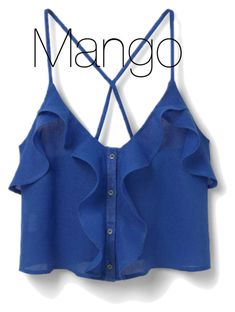 """Ruffle Ramie from Mango Teen Fashion, Fashion Outfits, Casual Outfits, Cute Outfits, Strappy Crop Top, Mango Tops, Frill Tops, Blue Crop Tops, Cropped Tops"