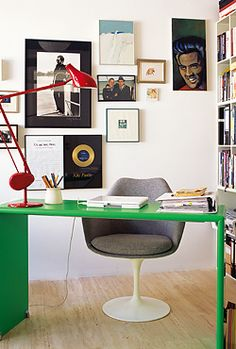 red and green office