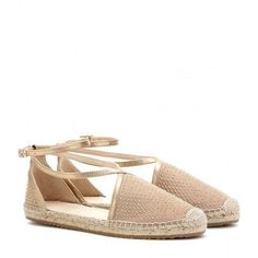 Jimmy Choo Donna Embellished Suede Espadrille Sandals (385 CAD) ❤ liked on Polyvore featuring shoes, sandals, flats, beige, embellished sandals, espadrille flats, espadrilles shoes, espadrille sandals and flat shoes