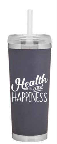 24oz Health & Happiness Grey Tumbler