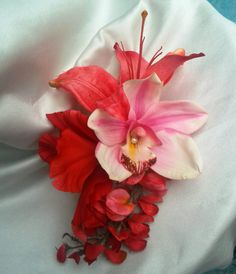 HAWAIIAN ORCHID Hair Clip Pink Lily Wysteria Pearls by MalamaPua, $24.99