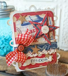 Freedom Card Stacked Stars and Big Ticket die Fourth Of July Decor, July 4th, Atc Cards, Card Tags, Americana Crafts, Card Creator, Project Life Cards, Some Cards, Cards